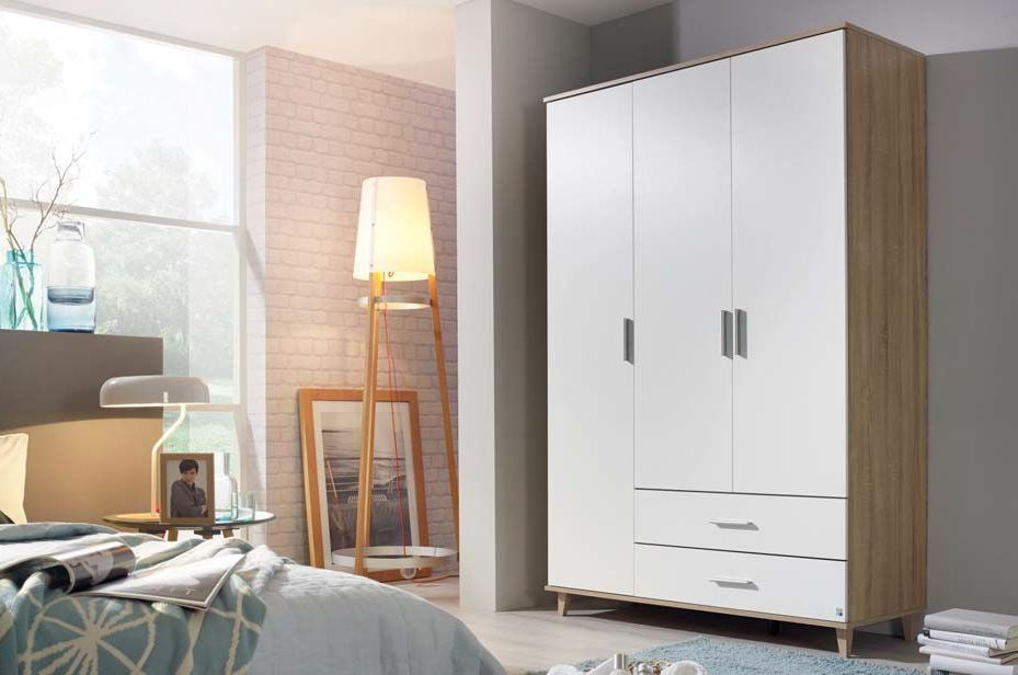 Rauch Maturin Sonoma Oak with Alpine White 4 Door 2 Drawer Combi Wardrobe with 2 Mirror - W 168cm