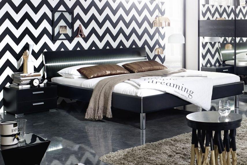 Rauch Mavi Base 3ft Single 2 Panel Bed in Black with Aluminium Bar and LED Lighting - 100cm x 190cm