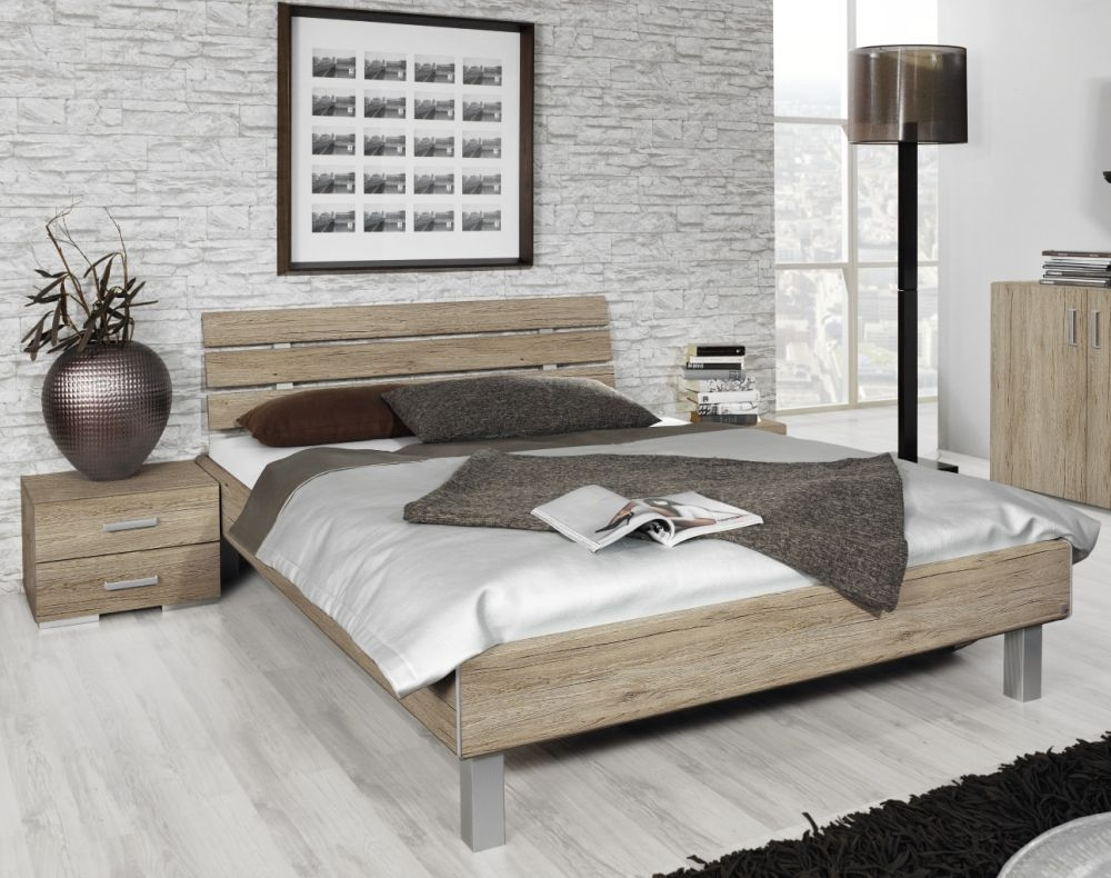 Rauch Mavi Base 4ft 6in Double 3 Panel Bed in Sanremo Oak  - 140cm x 200cm