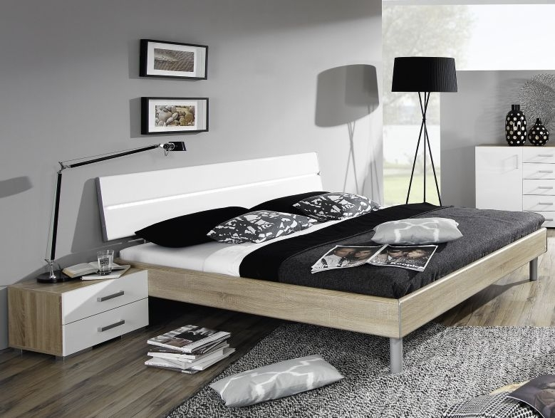 Rauch Mavi Base 6ft Queen Size 2 Panel Bed in Sonoma Oak and Alpine White with Aluminium Bar and LED Lighting - 180cm x 200cm