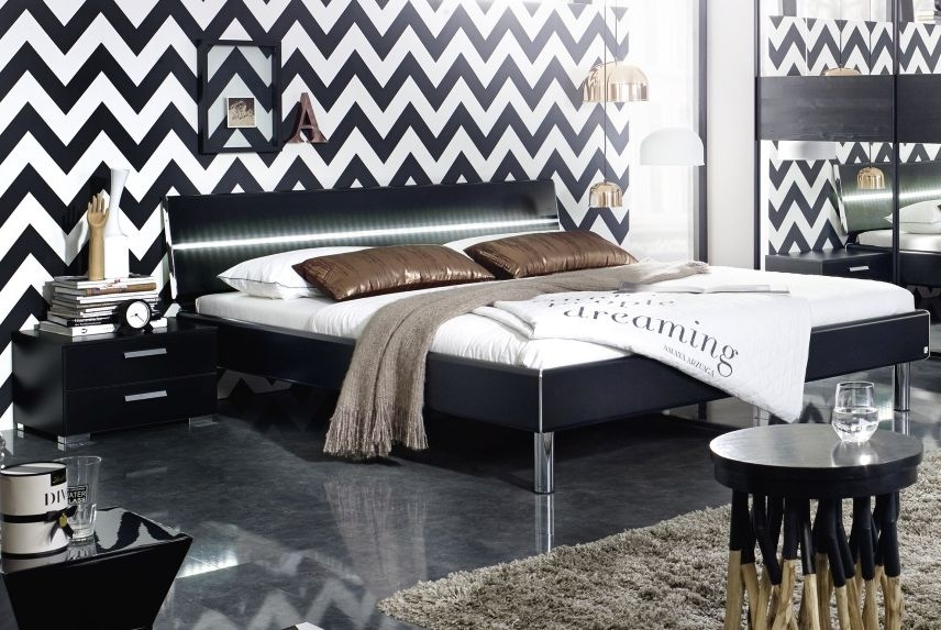 Rauch Mavi Base 6ft Super Queen Size 2 Panel Bed in Black with Chrome Bar and LED Lighting - 200cm x 200cm