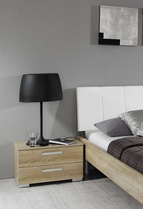 Rauch Mavi Base Sonoma Oak 2 Drawer Relax Bedside Cabinet - W 40cm