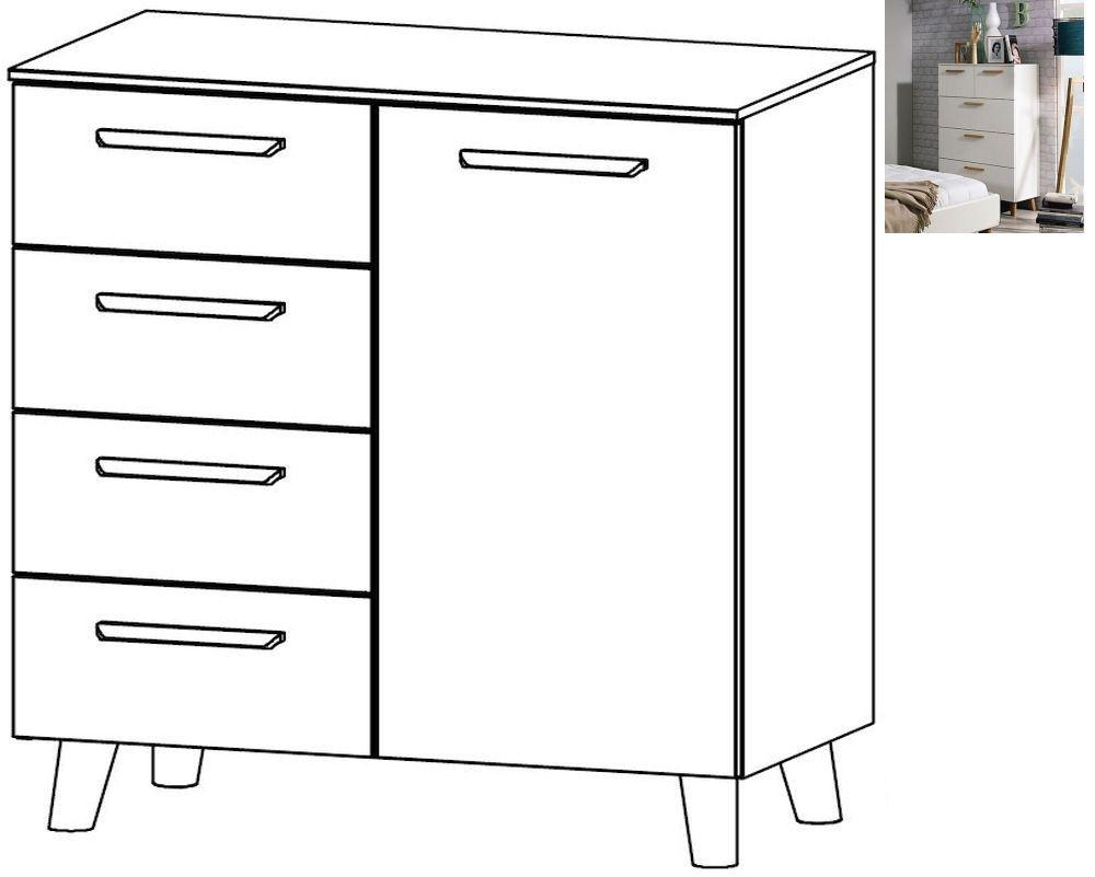 Rauch Mavi Extra 1 Door 4 Drawer Chest in Alpine White