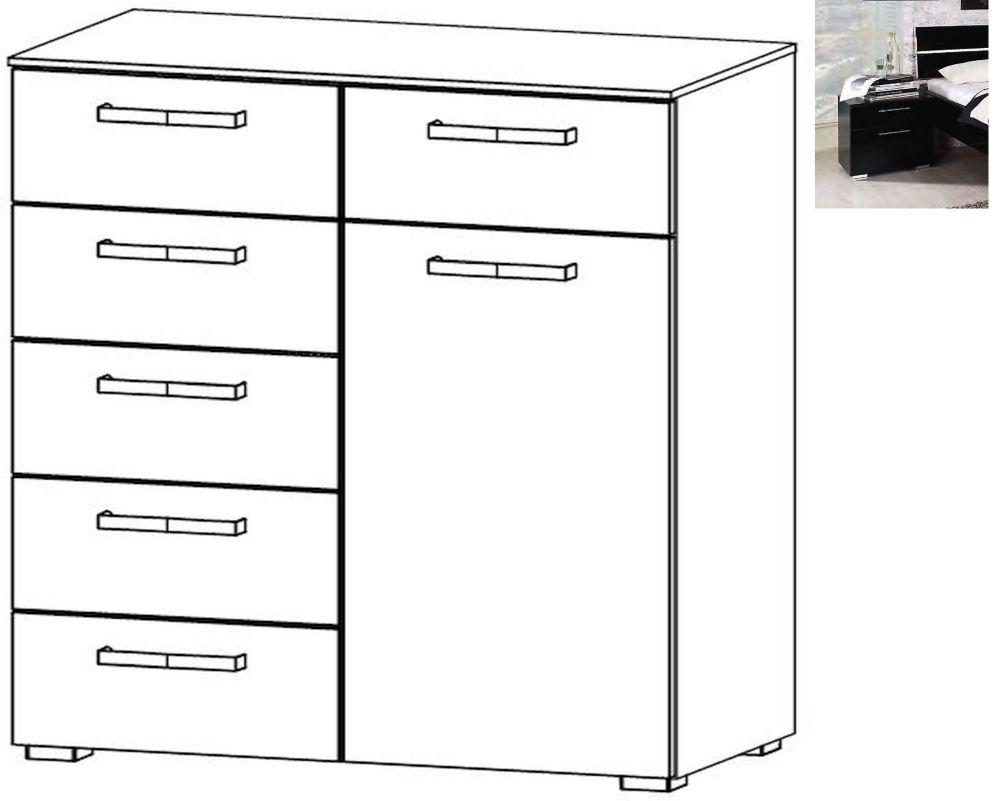 Rauch Mavi Extra 1 Door 6 Drawer Chest in Black