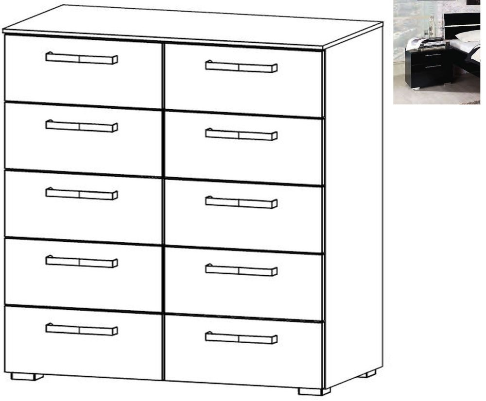 Rauch Mavi Extra 10 Drawer Chest in Black