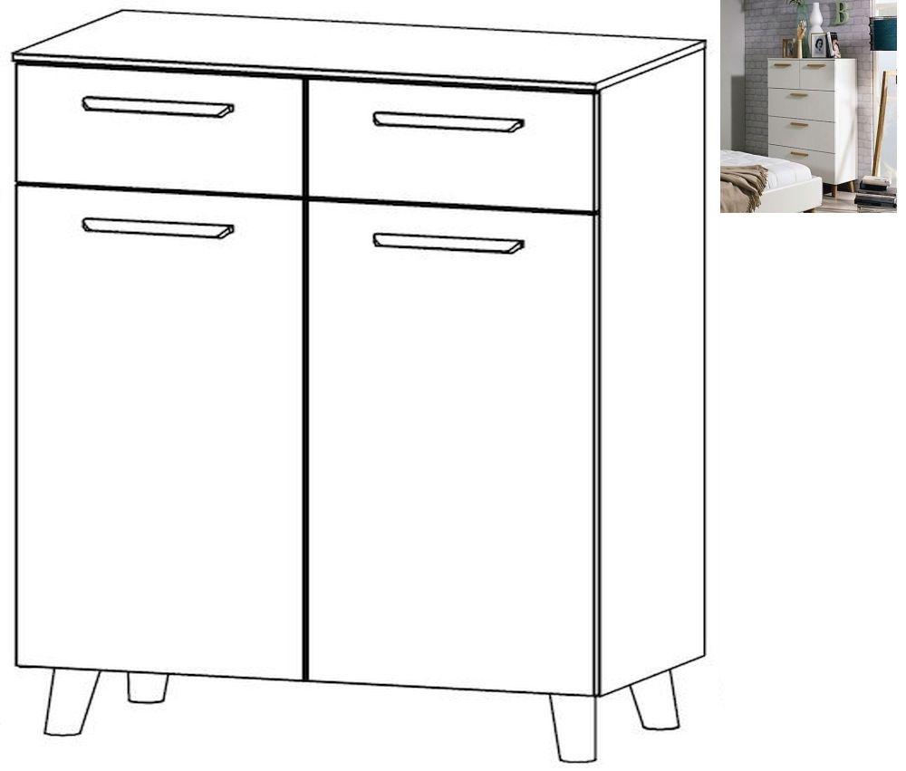 Rauch Mavi Extra 2 Door 2 Drawer Chest in Alpine White