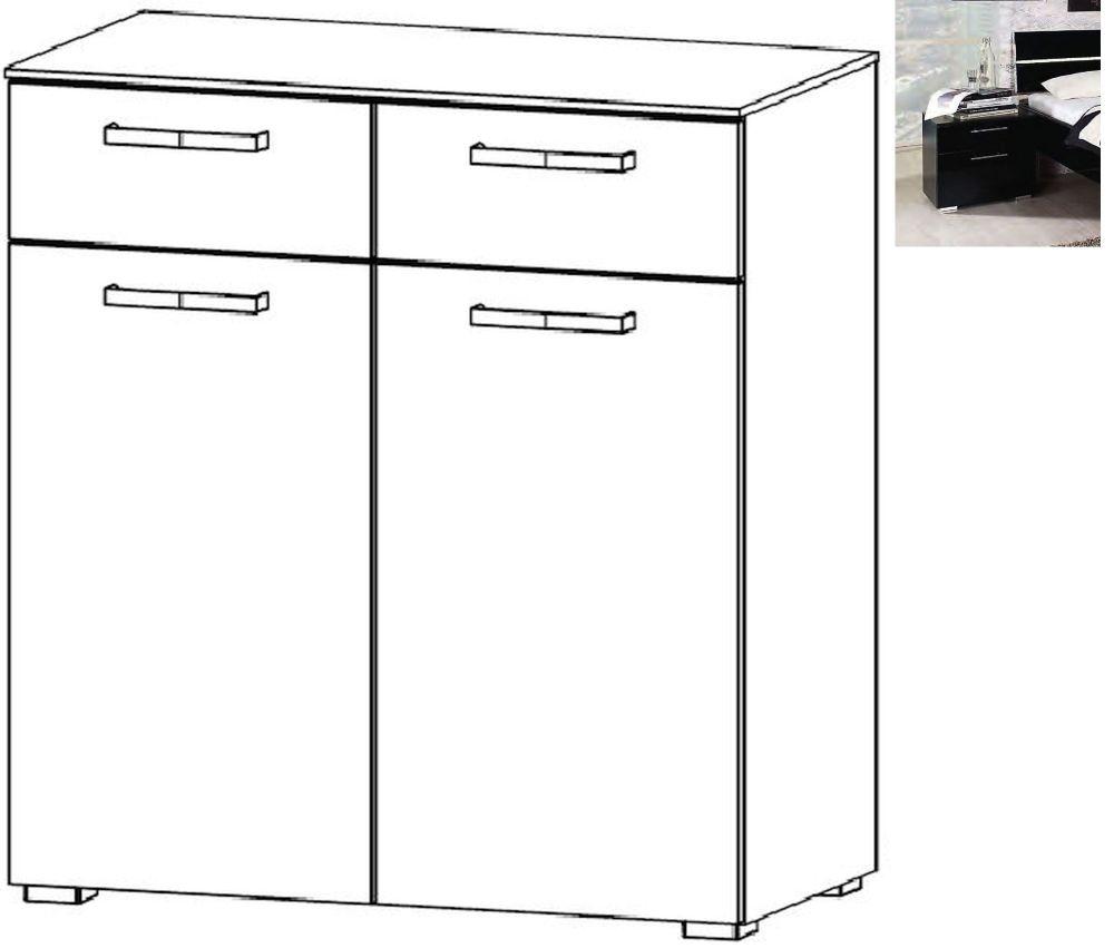Rauch Mavi Extra 2 Door 2 Drawer Chest in Black