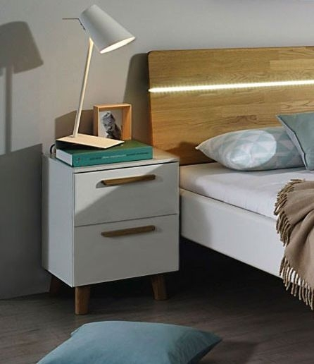 Rauch Mavi Extra 2 Drawer Bedside Cabinet in Alpine White - W 50cm