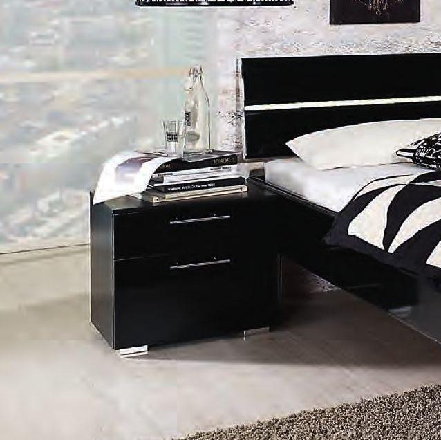 Rauch Mavi Extra 2 Drawer Bedside Cabinet in Black - W 50cm