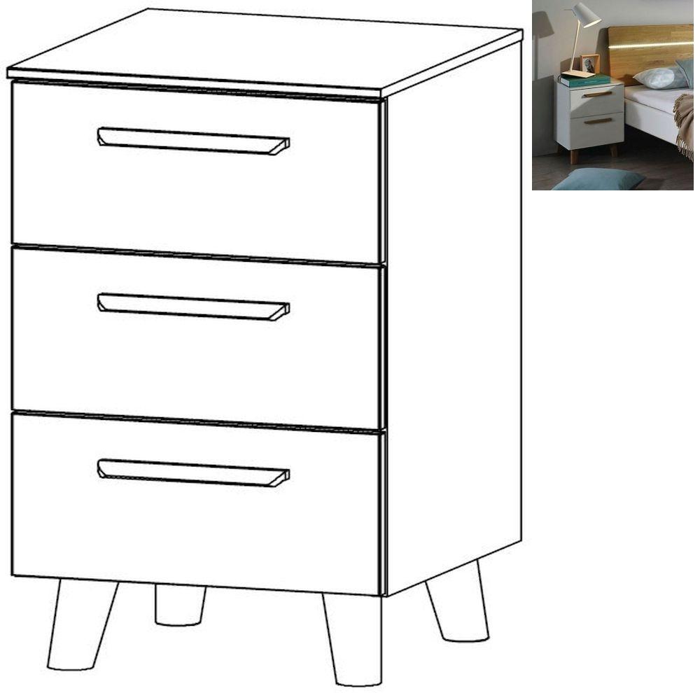 Rauch Mavi Extra 3 Drawer Bedside Cabinet in Alpine White - W 40cm