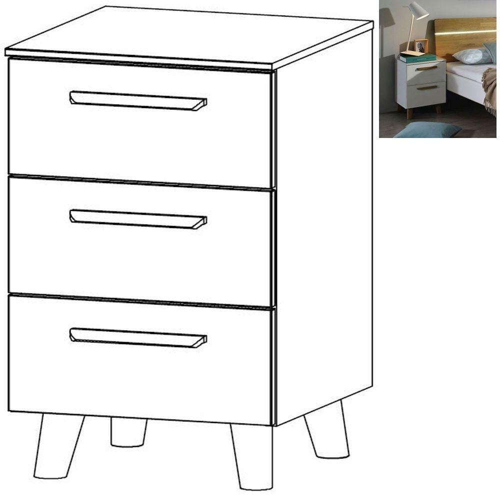 Rauch Mavi Extra 3 Drawer Bedside Cabinet in Alpine White - W 50cm