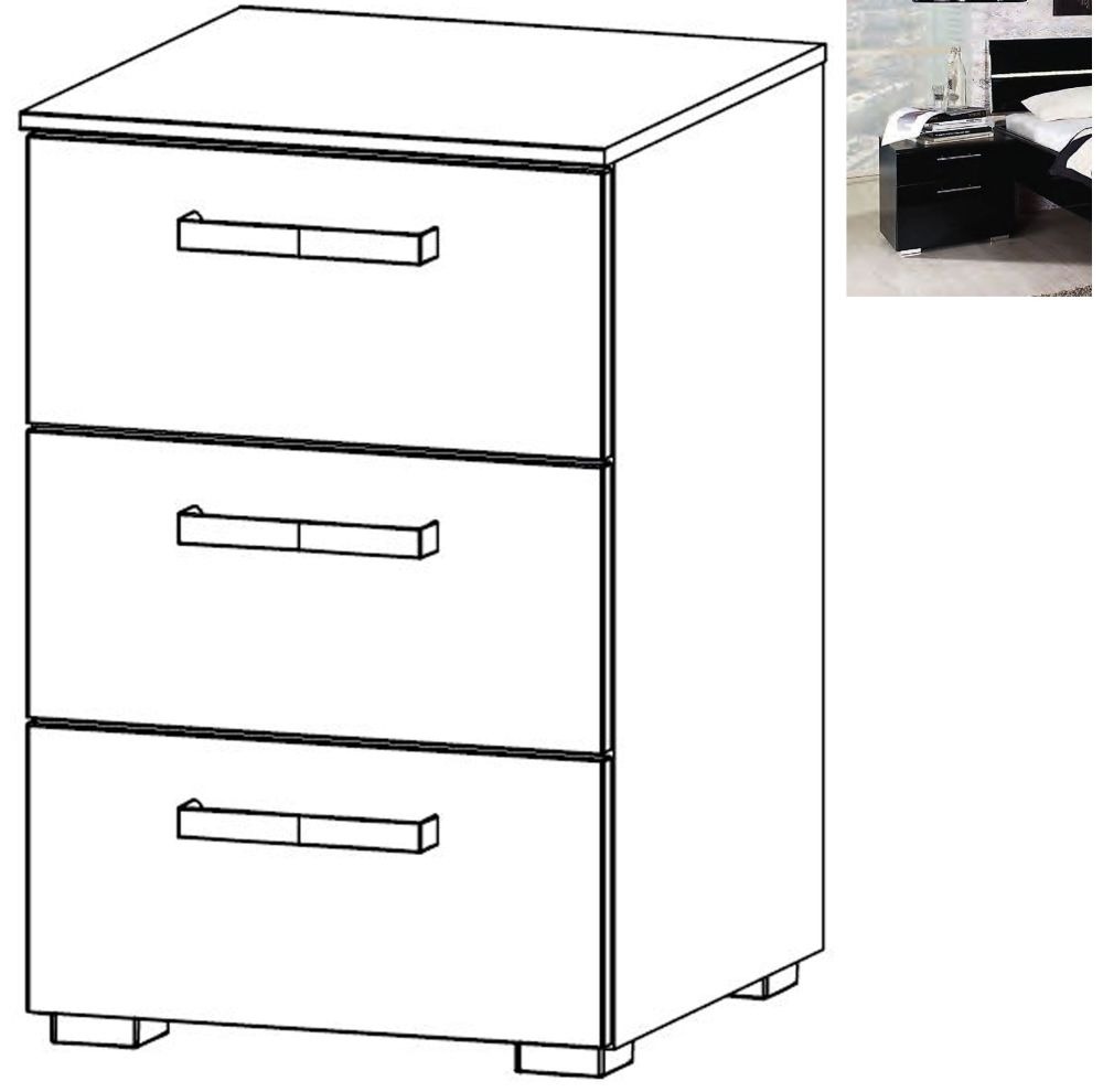 Rauch Mavi Extra 3 Drawer Bedside Cabinet in Black - W 40cm