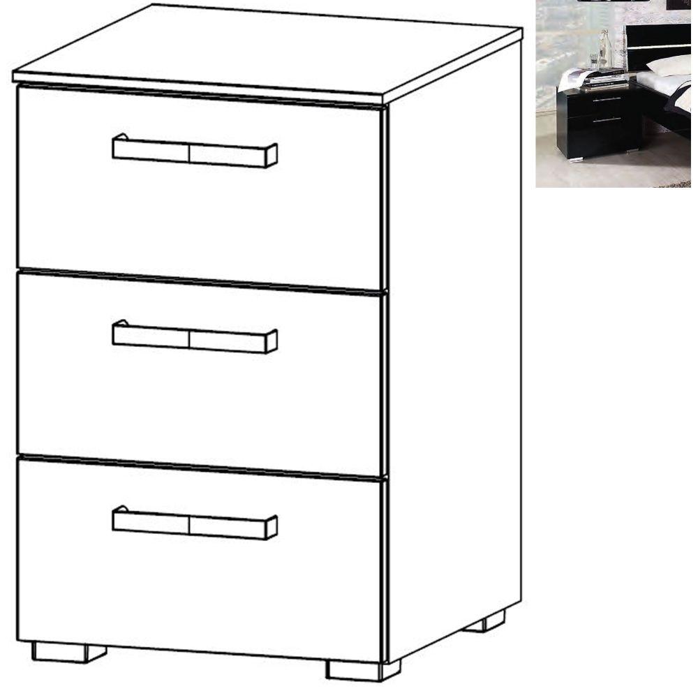 Rauch Mavi Extra 3 Drawer Bedside Cabinet in Black - W 50cm