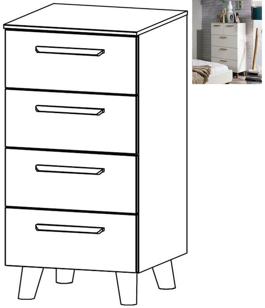 Rauch Mavi Extra 4 Drawer Chest in Alpine White - W 40cm