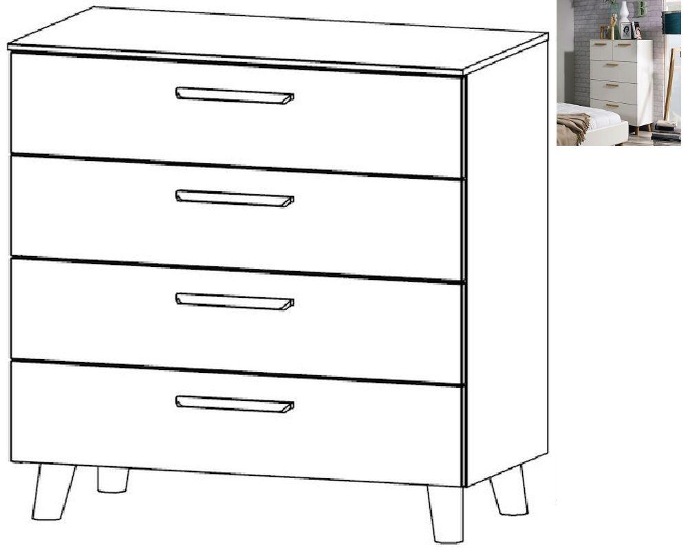 Rauch Mavi Extra 4 Drawer Chest in Alpine White - W 80cm