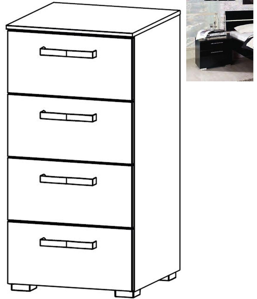 Rauch Mavi Extra 4 Drawer Chest in Black - W 40cm