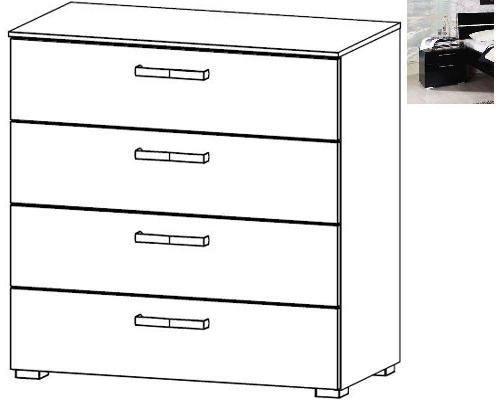 Rauch Mavi Extra 4 Drawer Chest in Black - W 80cm