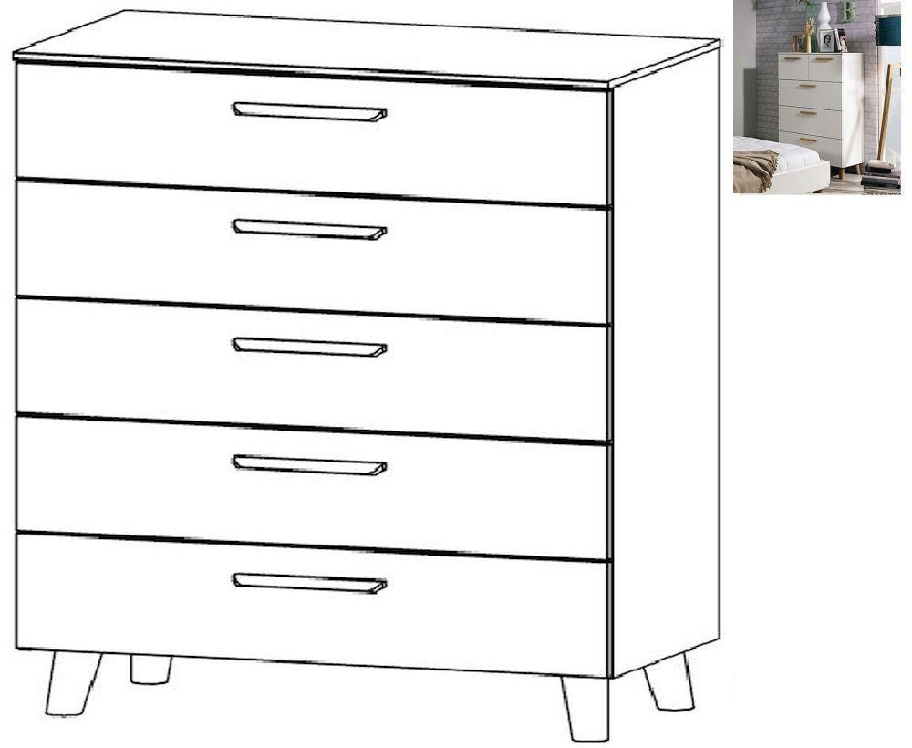 Rauch Mavi Extra 5 Drawer Chest in Alpine White -W 80cm