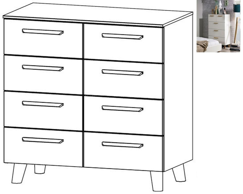 Rauch Mavi Extra 8 Drawer Chest in Alpine White