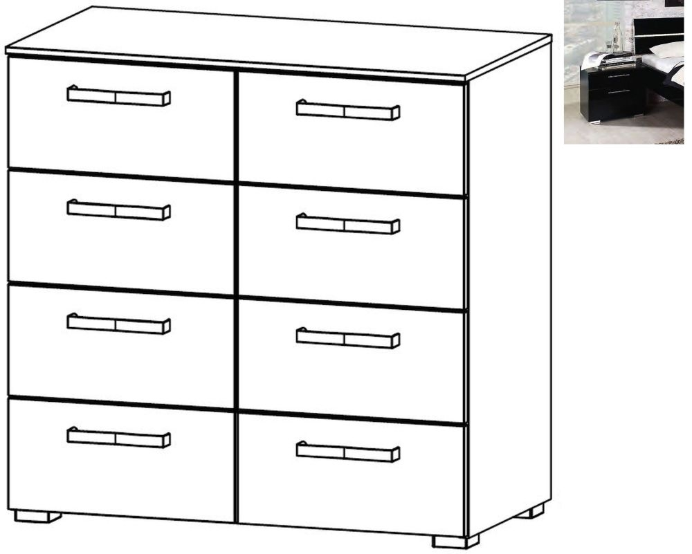 Rauch Mavi Extra 8 Drawer Chest in Black
