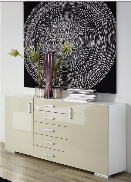 Rauch Mavi Plus 8 Drawer Chest in Alpine White and High Gloss Sand Grey - W 110cm