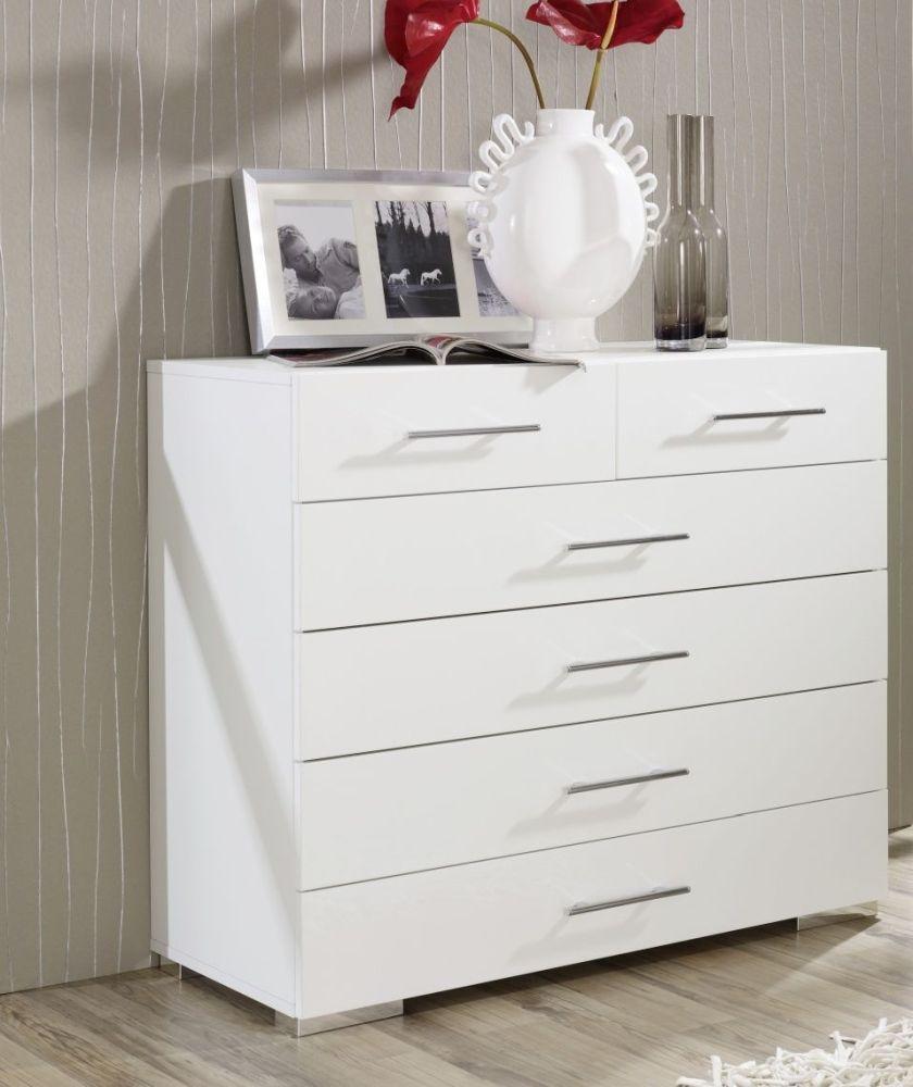 Rauch Mavi Plus 6 Drawer Chest in White - W 80cm