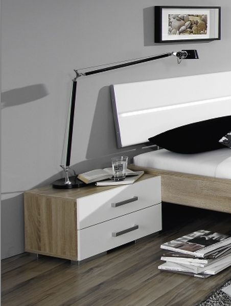 Rauch Mavi Plus 2 Drawer Relax Bedside Cabinet in Sonoma Oak and High Gloss White - W 40cm