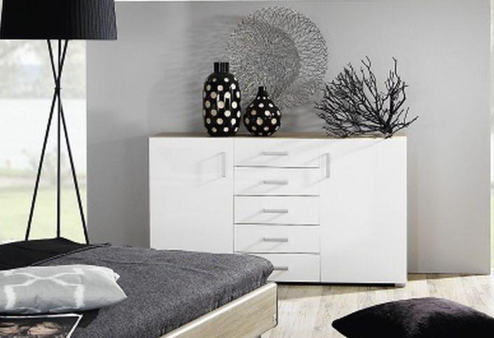 Rauch Mavi Plus 6 Drawer Chest in Sonoma Oak and High Gloss White - W 80cm