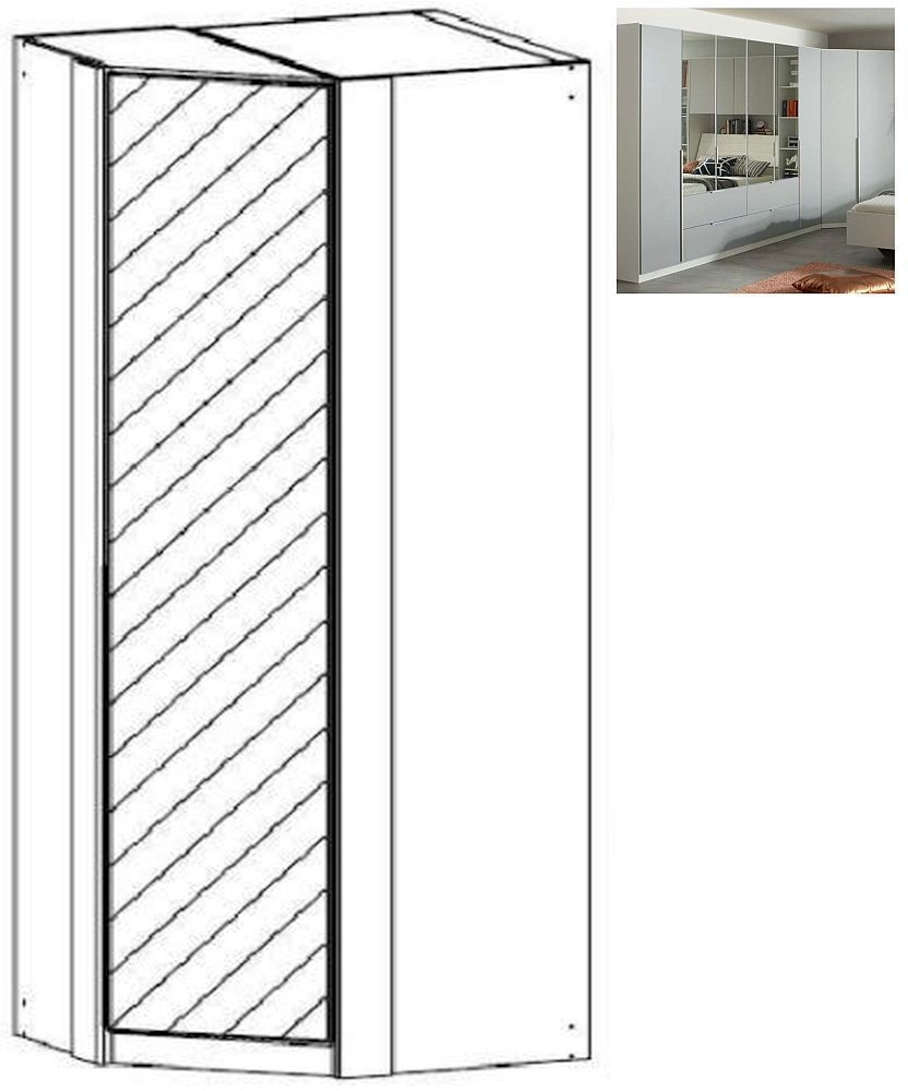 Rauch Memphis 1 Mirror Door Corner Wardrobe in Alpine White and Silk Grey