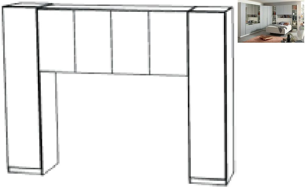 Rauch Memphis 195cm Overbed Unit in Alpine White with Silk Grey - W 140cm