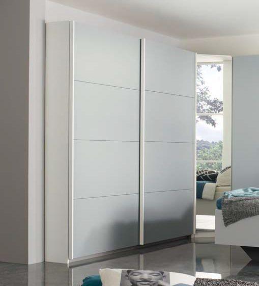 Rauch Memphis 2 Door 1 Mirror Silding Wardrobe in Alpine White and Silk Grey - W 271cm