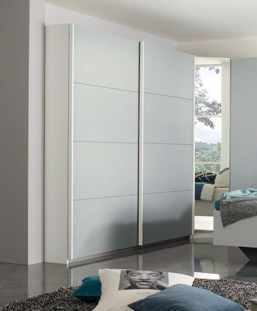 Rauch Memphis 2 Door Sliding Wardrobe in White and Silk Grey - W 181cm