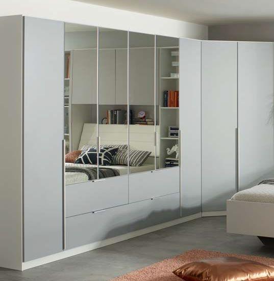 Rauch Memphis 2 Mirror Door Corner Wardrobe in Alpine White and Silk Grey