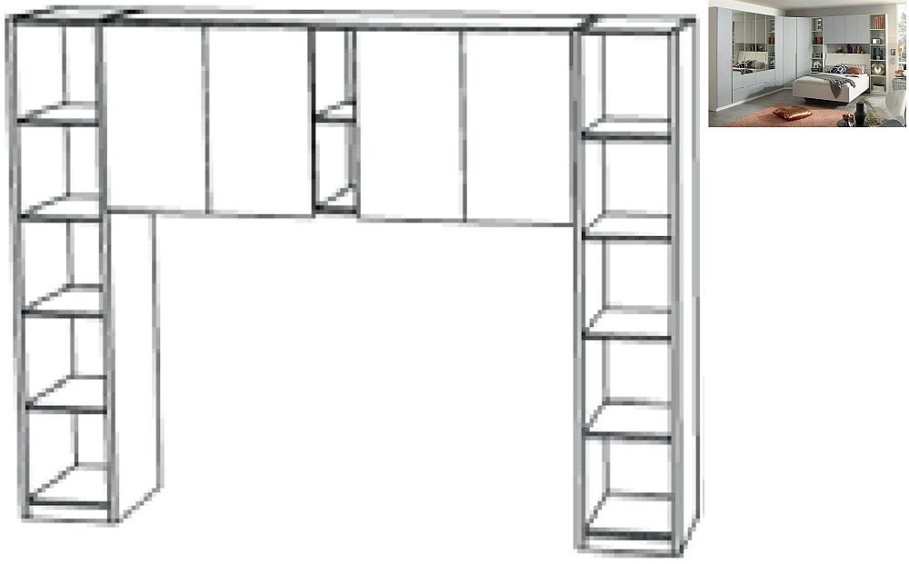 Rauch Memphis 263cm Overbed Unit with Shelves in Alpine White and Silk Grey - W 160cm