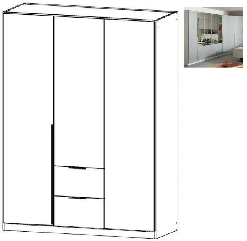 Rauch Memphis 3 Door 2 Drawer Combi Wardrobe in Alpine White and Silk Grey