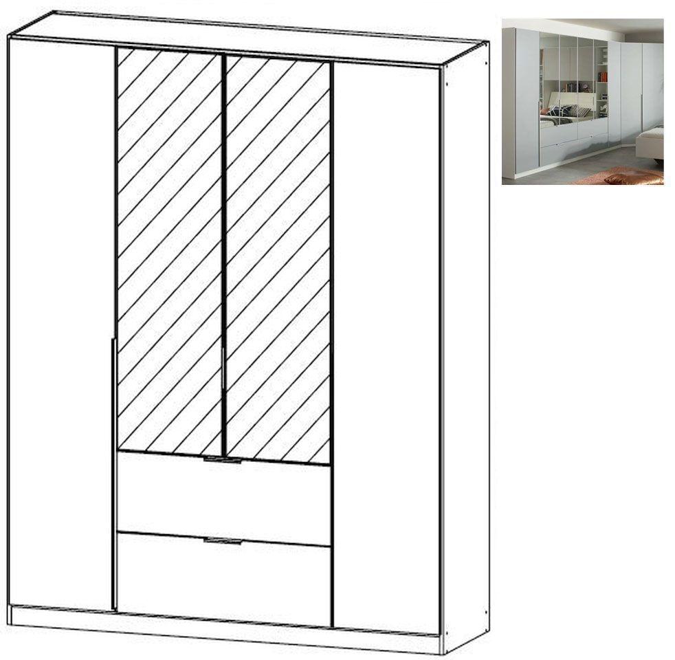 Rauch Memphis 4 Door 2 Mirror 2 Drawer Combi Wardrobe in Alpine White and Silk Grey