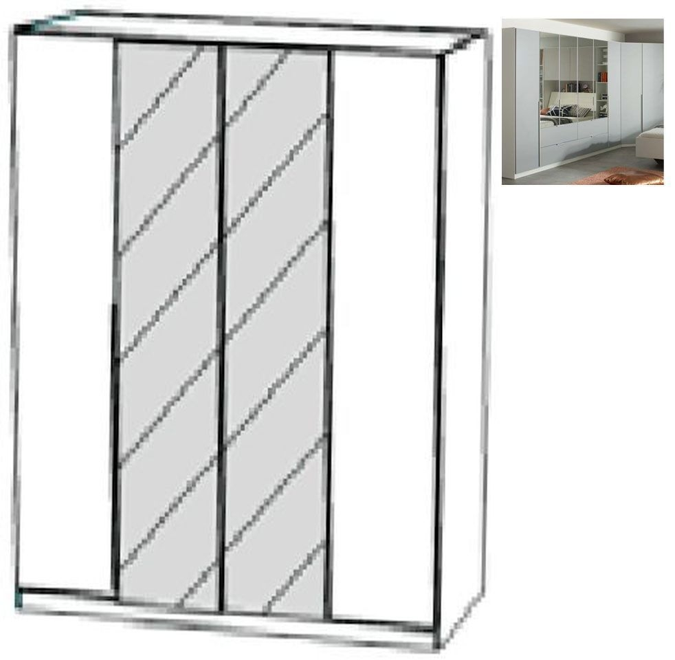 Rauch Memphis 4 Door 2 Mirror Wardrobe in Alpine White and Silk Grey