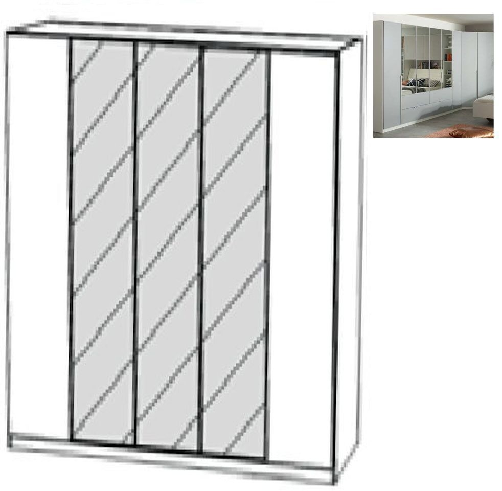 Rauch Memphis 5 Door 3 Mirror Wardrobe in Alpine White and Silk Grey