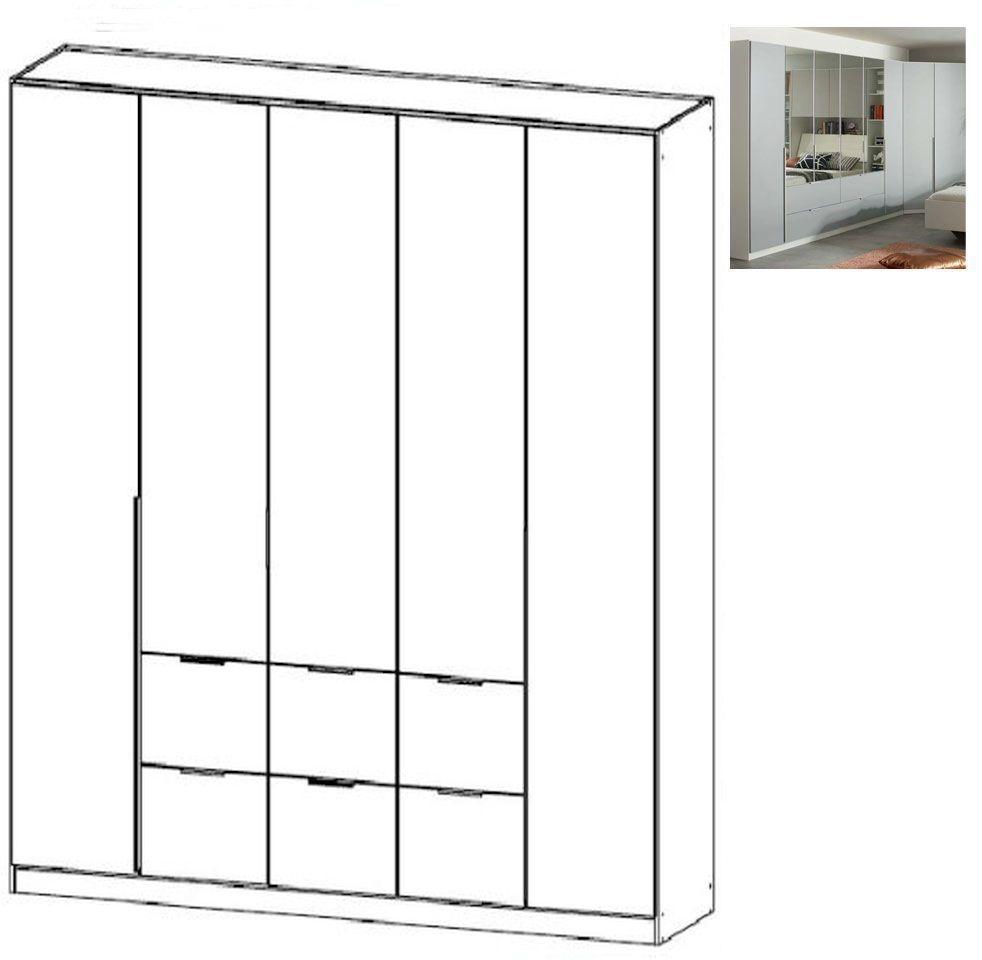 Rauch Memphis 5 Door 6 Drawer Combi Wardrobe in Alpine White and Silk Grey