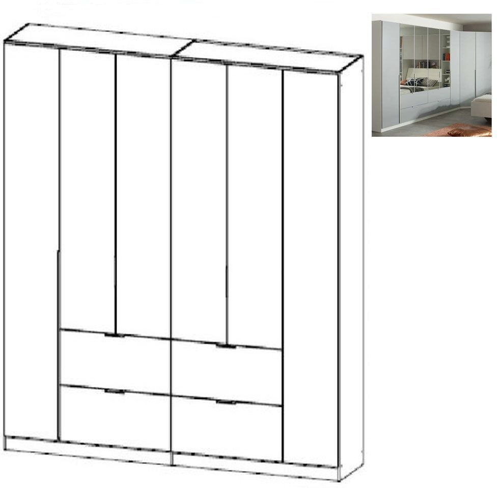 Rauch Memphis 6 Door 4 Drawer Combi Wardrobe in Alpine White and Silk Grey