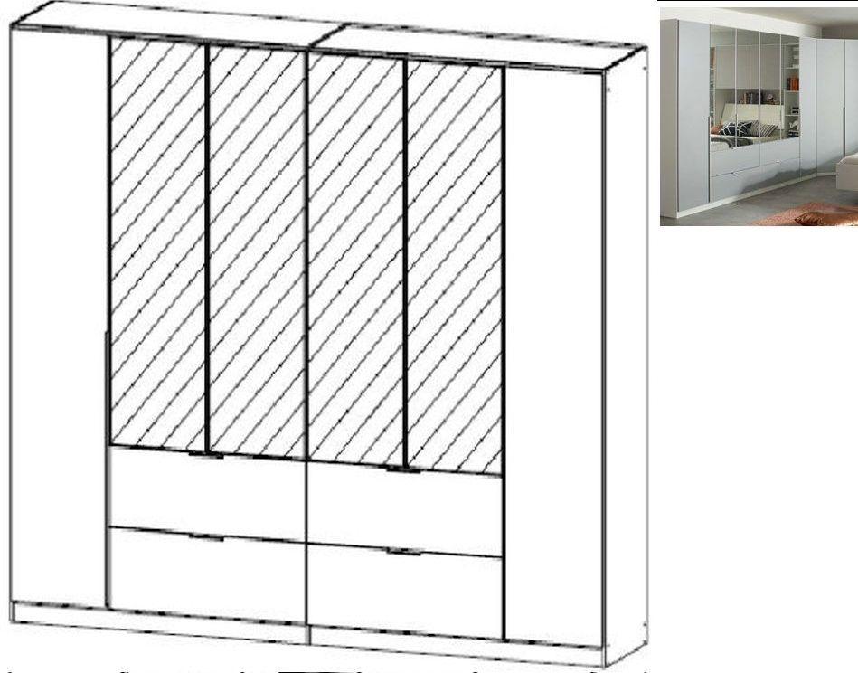 Rauch Memphis 6 Door 4 Mirror 4 Drawer Combi Wardrobe in Alpine White and Silk Grey