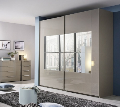 Rauch Miramar 2 Door Mirror Sliding Wardrobe in Silk Grey - W 226cm