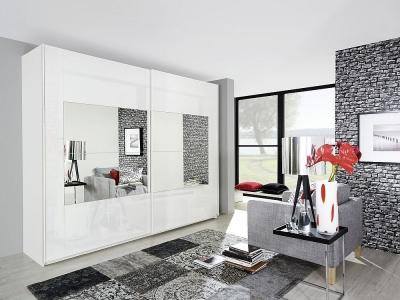 Rauch Miramar 2 Door Mirror Sliding Wardrobe in White - W 271cm