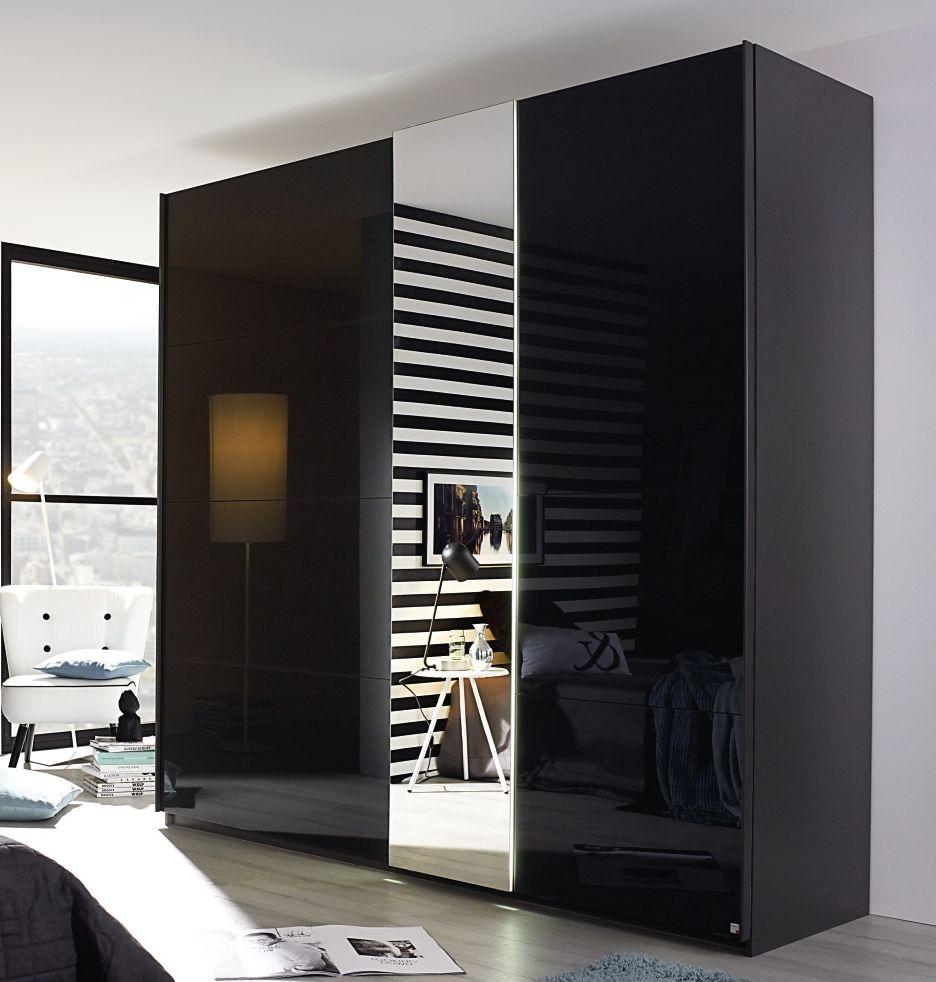 Rauch Miramar 2 Door 1 Mirror Sliding Wardrobe in Graphite and Basalt Glass - W 225cm