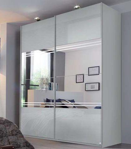 Rauch Miramar 2 Door Center Mirror with Glitter Stripes Sliding Wardrobe in Silk Grey - W 226cm