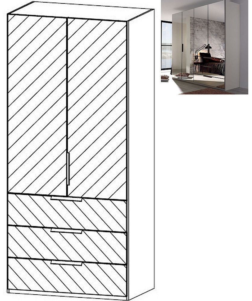 Rauch Miramar 2 Mirror Door 3 Drawer Combi Wardrobe in Silk Grey - W 101cm