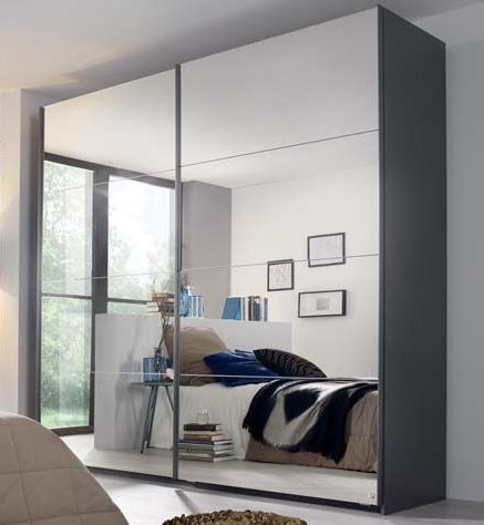 Rauch Miramar 2 Mirror Door Sliding Wardrobe in Graphite - W 271cm