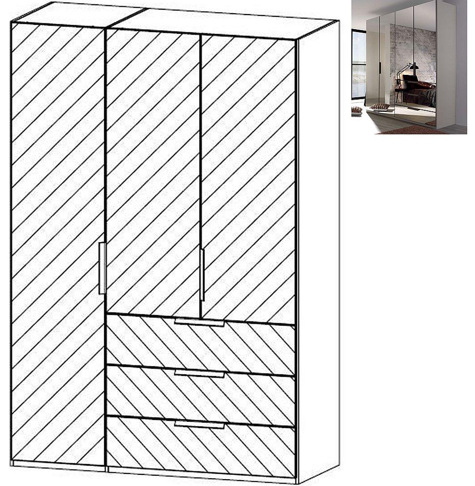 Rauch Miramar 3 Mirror Door 3 Drawer Combi Wardrobe in Silk Grey - W 151cm