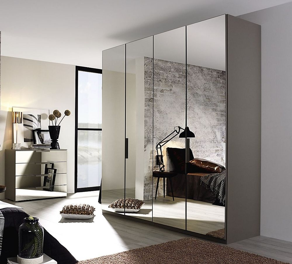 Rauch Miramar 4 Door All Mirror Wardrobe in Silk Grey - W 201cm