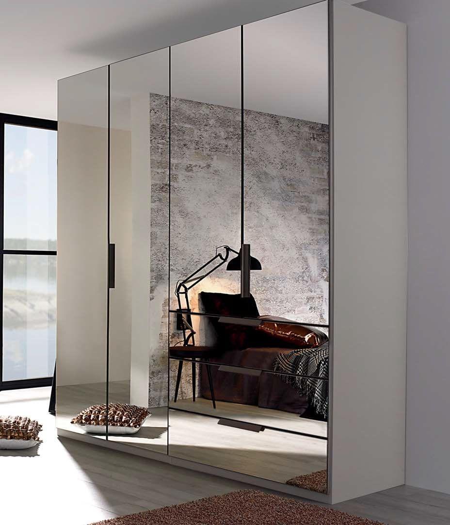 Rauch Miramar 4 Mirror Door 3 Drawer Combi Wardrobe in Silk Grey - W 201cm